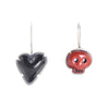 NEW! Red Skull Black Heart Enamel Earrings by Lisa Crowder