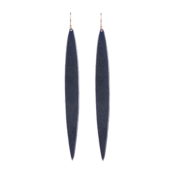 NEW! Elongated Slice Earrings in Oxidized Silver by Shaesby