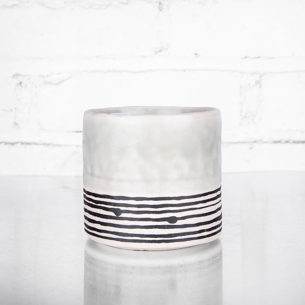 NEW! Small Round Pinched Planter with Stripes in Seafoam by Elizabeth Benotti