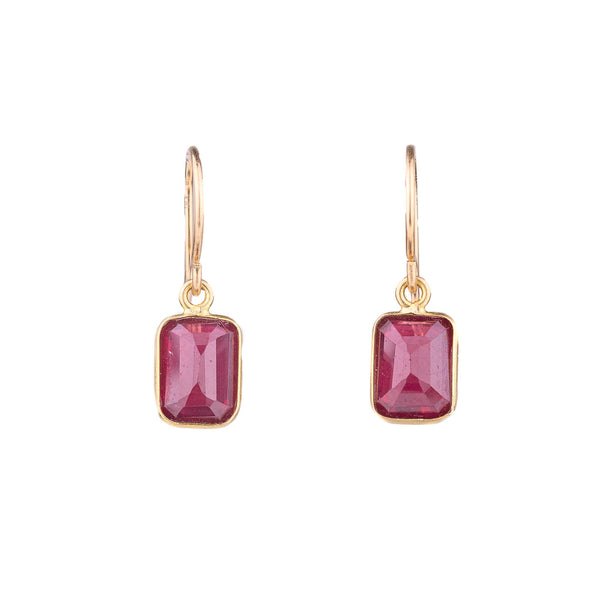 NEW! Ruby Baguette Earrings with 14k Gold by Margaret Solow