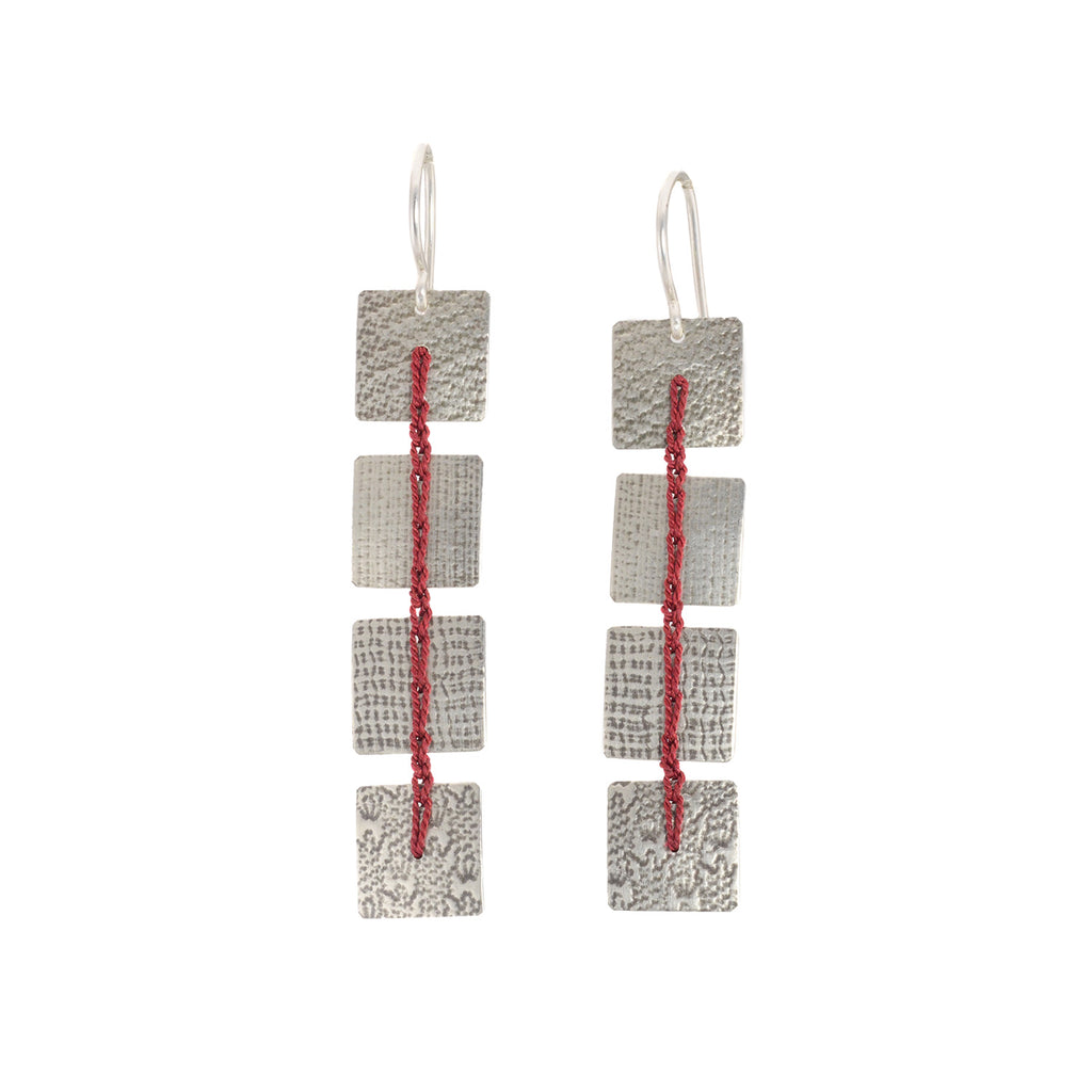 NEW! Red Square Crocheted Earrings by Erica Schlueter