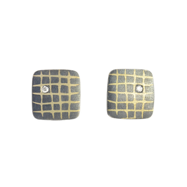 Small Square Scribble Grid Post Earrings by Heather Guidero