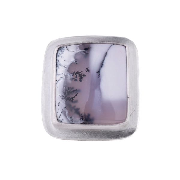Square Dendritic Agate Ring by Rina Young