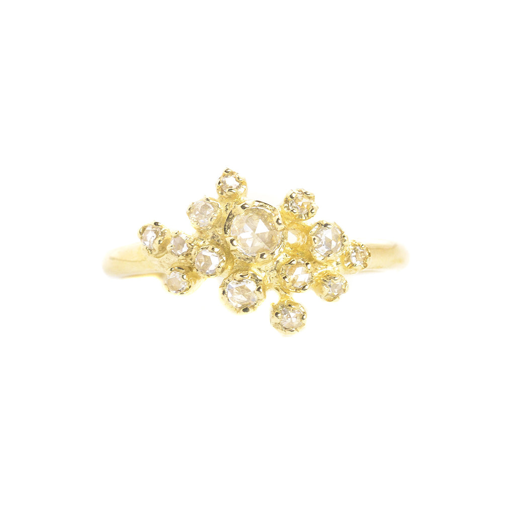 14K Gold Rose Cut Diamond Cluster Ring by N+A