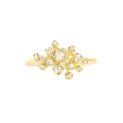 NEW! 14K Gold Rose Cut Diamond Cluster Ring by N+A