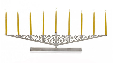 Brushed Steel Menorah by Valerie Atkisson - Fire Opal