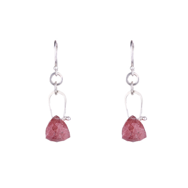 NEW! Stirrup Pyramid Strawberry Quartz Earrings by Serena Kojimoto