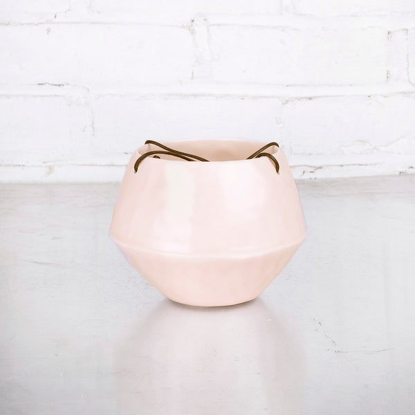 NEW! Small Round Pinched Hanging Planter in Summer Sweet by Elizabeth Benotti