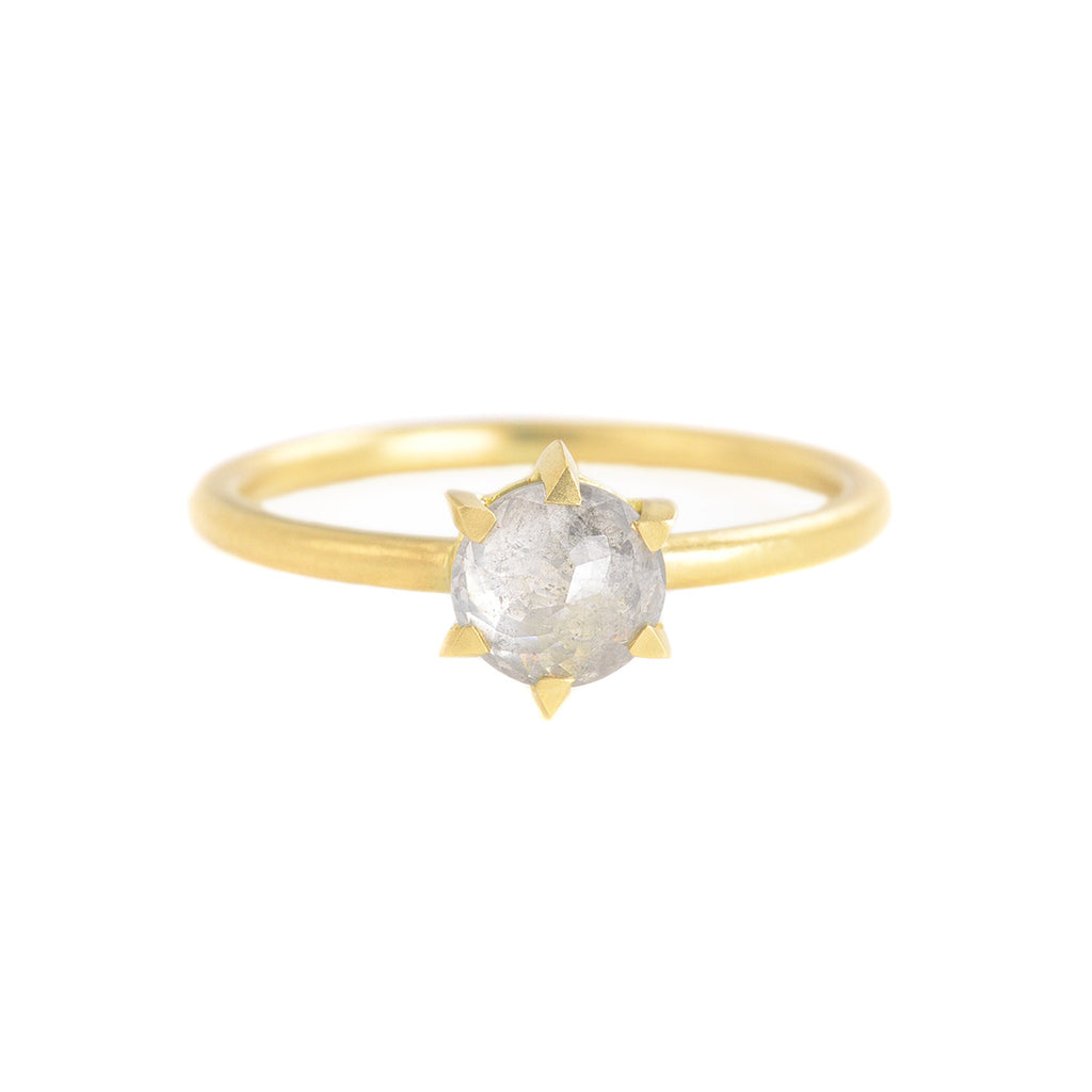 NEW! One of a Kind Hera Round Light Grey Diamond Ring by Sarah Swell