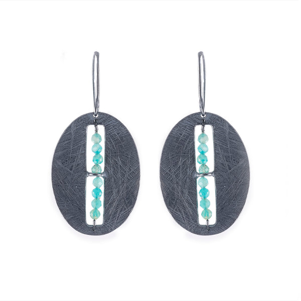 NEW! Carved Oval Segment Earrings with Amazonite by Heather Guidero