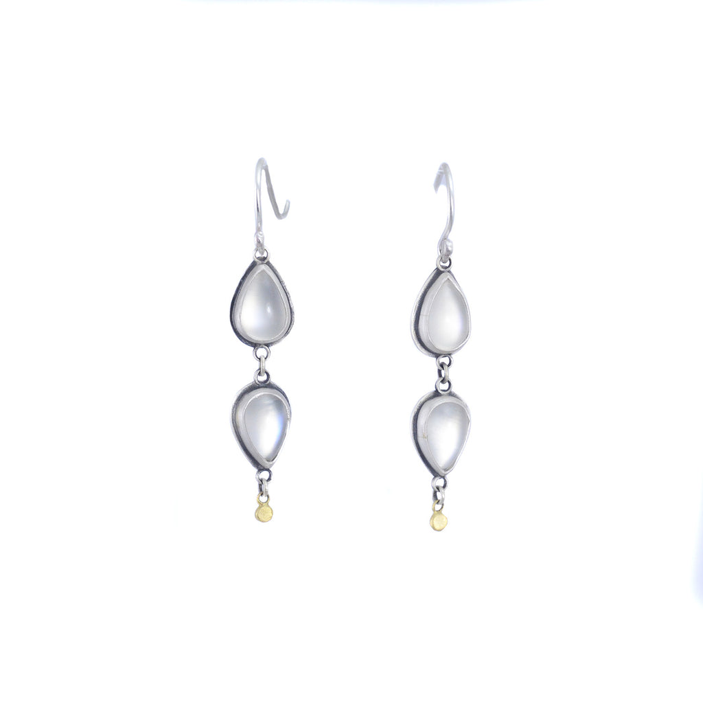 Two Teardrop Moonstone Earrings by Ananda Khalsa