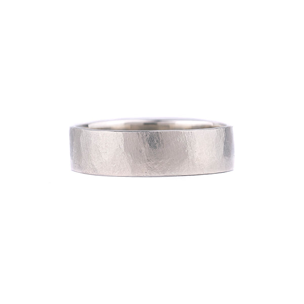 NEW! 18k White Gold Hammered Band by Dawes Design