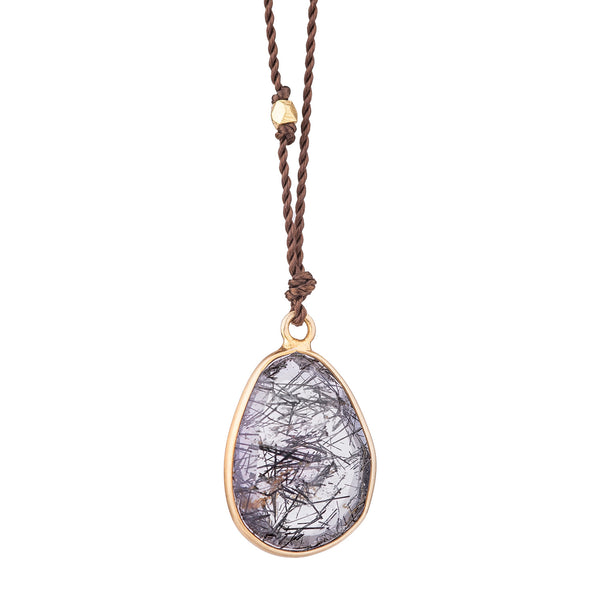 NEW! Tourmalated Quartz Necklace with 14k Gold by Margaret Solow