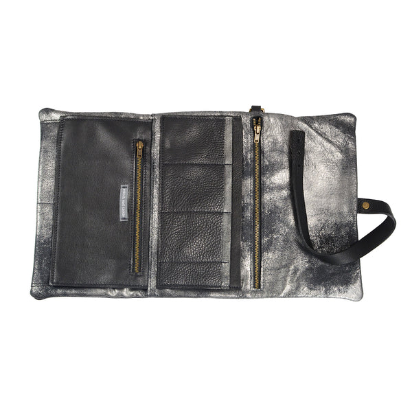 Traveller Clutch in Distressed Black by Stitch & Tickle