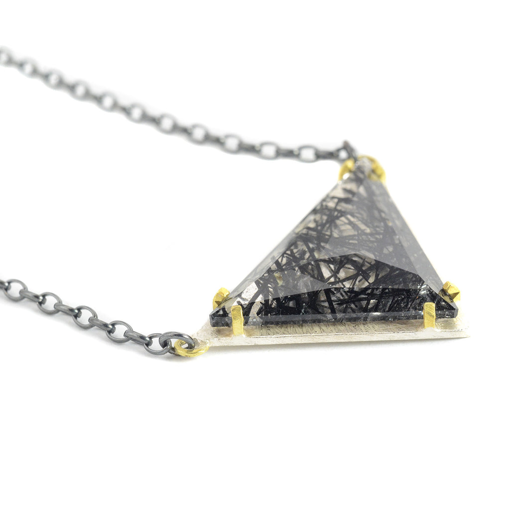 One of a Kind Tourmalated Quartz Triangle Necklace by Heather Guidero