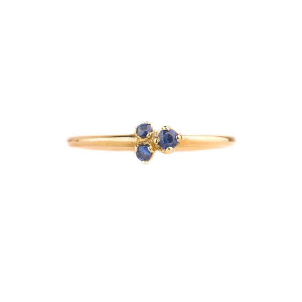 NEW! Three Rose Cut Sapphire 14k Gold Ring by N+A
