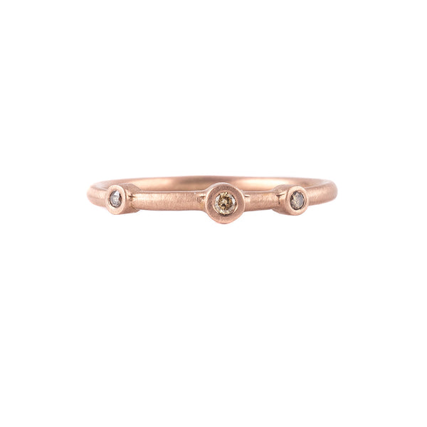 NEW! Three Diamond Stacker Ring in 18k Rose Gold by Heather Guidero