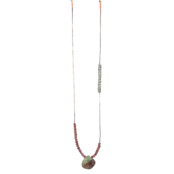 NEW! Garnet, Blue Quartz and Chrysoprase Necklace by Eric Silva