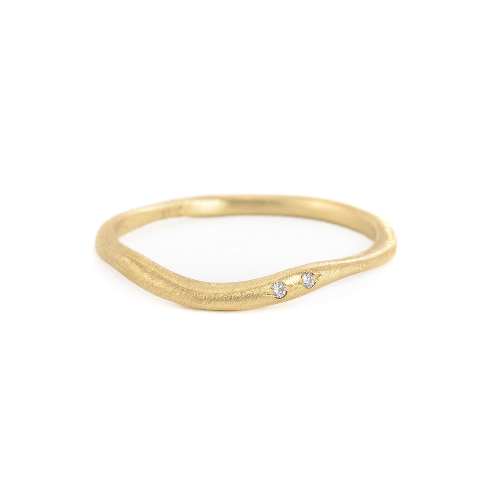 18k Gold Curved Band with 2 Diamonds by Yasuko Azuma