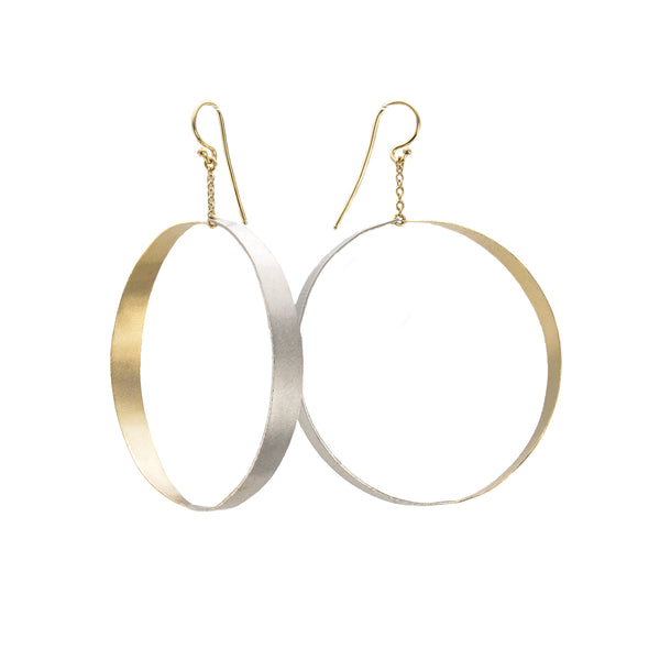 NEW! Two Toned Dangle Hoop Earrings by Shaesby