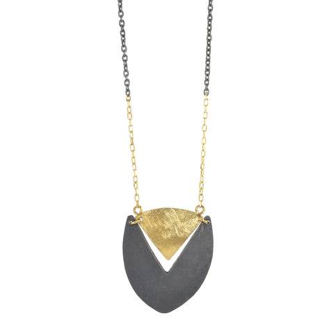 NEW! Two Toned Shield Necklace in Black by Shaesby