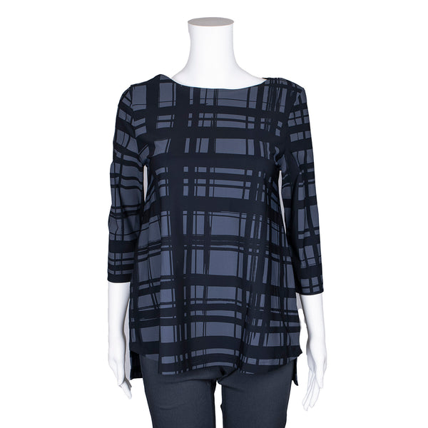 NEW! Virtue Top in Carbon Plaid Print by Porto