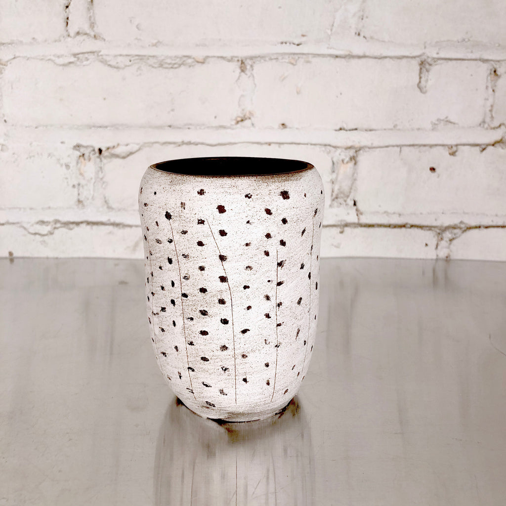 Small Vase with Dots and Lines  by SRS Ceramics