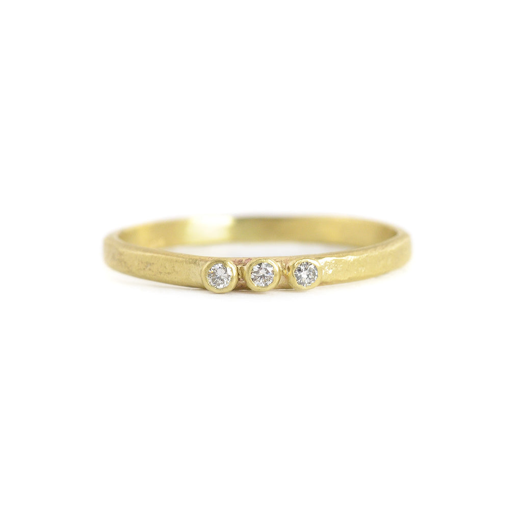 Weathered 3 Diamond Stacking Ring in Yellow Gold by Sarah Swell