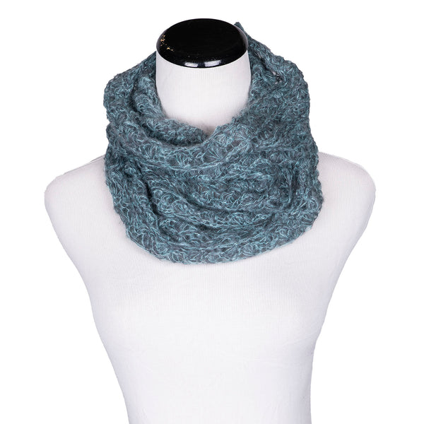 NEW! Web Loop Scarf in Aqua/Pewter by Olena Zylak