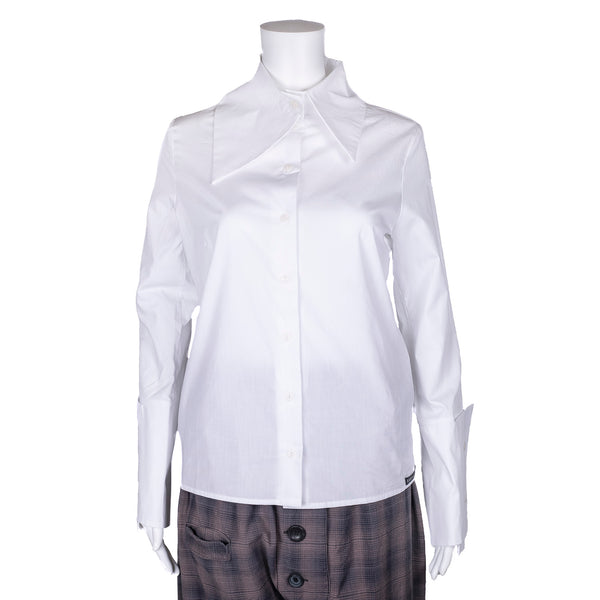 NEW! White Collared Button Down Blouse by Karaka