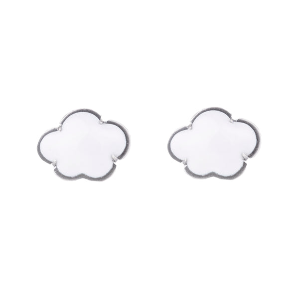 NEW! Silver White Cloud Stud Earrings by Lisa Crowder