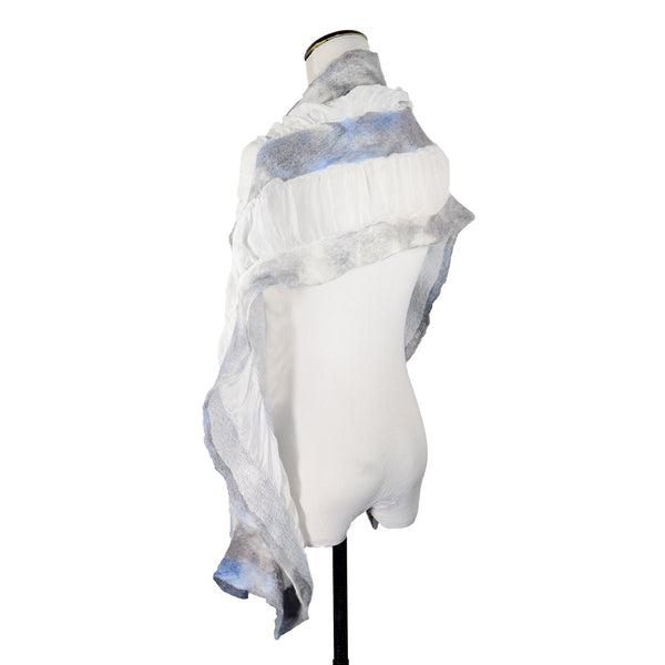 Gauze Skinny Vertical Scarf in Smokey White by Gina Pannorfi