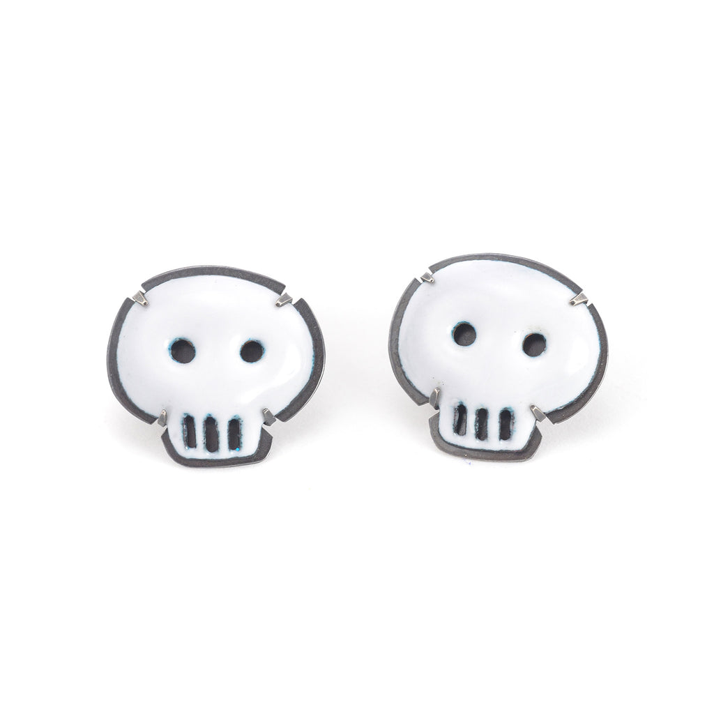 NEW! Enamel White Skull Stud Earrings by Lisa Crowder