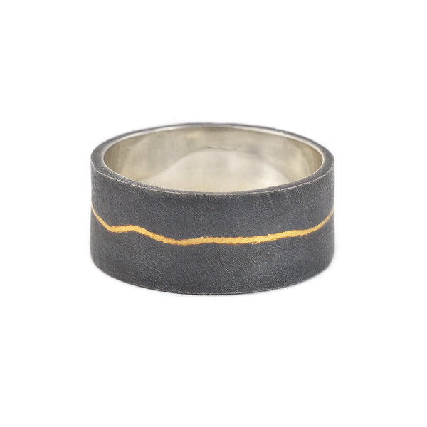 NEW! Wide Inlay Stack Ring in Black by Shaesby