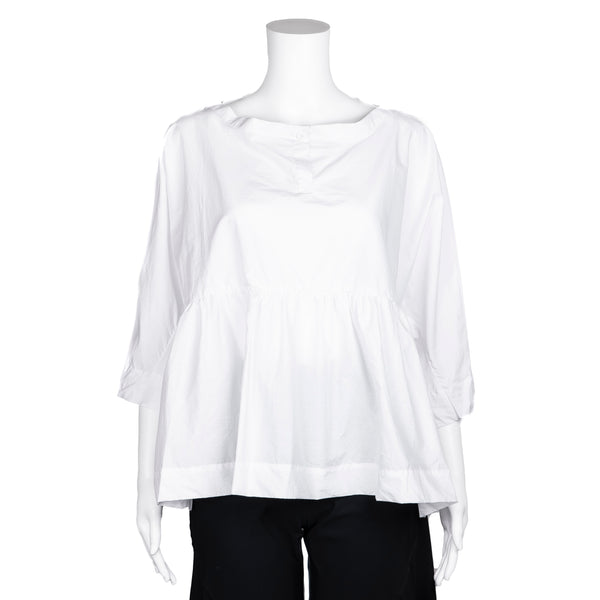 NEW! Oversized White Peplum Blouse by AMMA Kedem Sasson