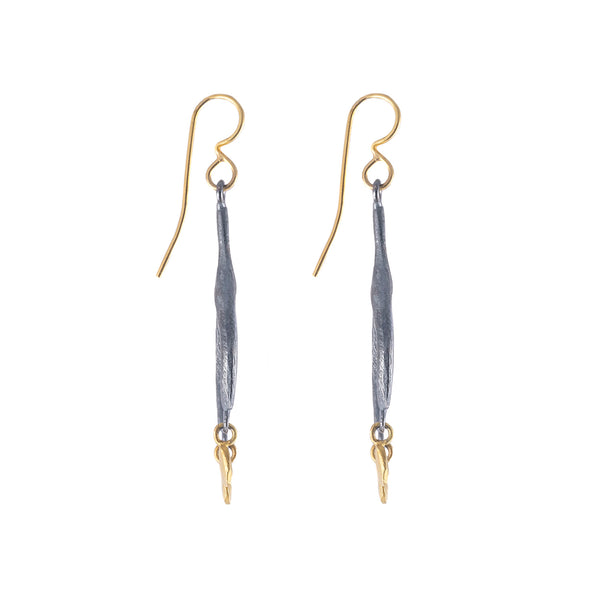 NEW! Oxidized Silver & Gold Wishbone Earrings by Dahlia Kanner