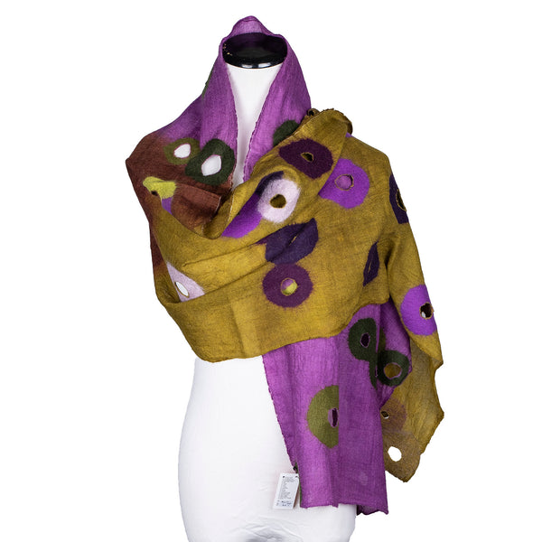 NEW! Winter Weight Holey Scarf in Purple & Green by B. Felt