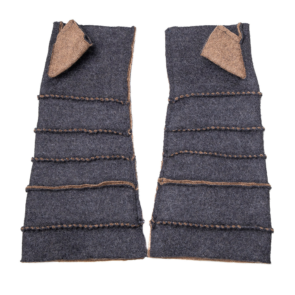 NEW! Wrist Warmers with Thumb in Grey/Camel by Vilma Marė