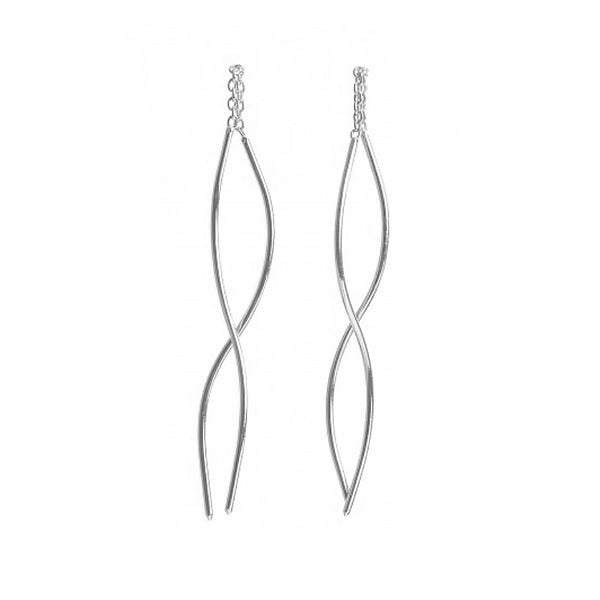 NEW! Extra Long Curved Thread-Thru Earrings in Sterling Silver by Shaesby