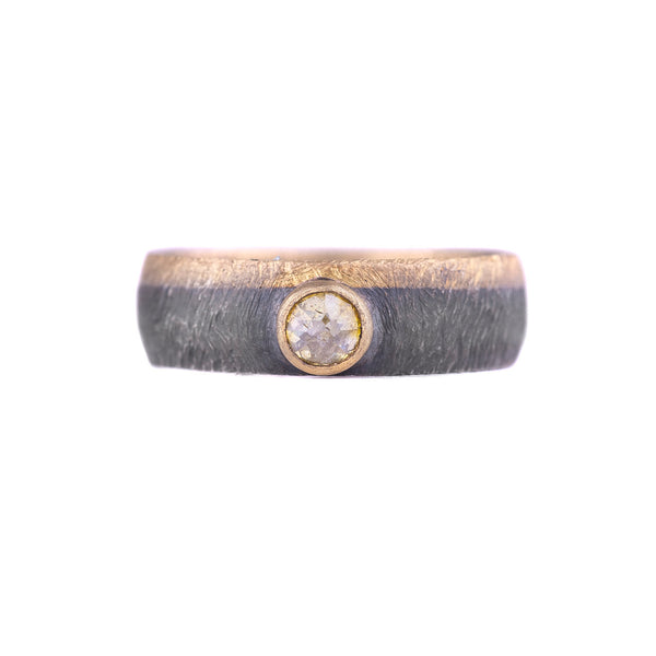 NEW! Oxidized Sterling Silver and Gold Band with Yellow Gold by Heather Guidero