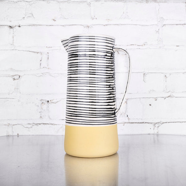 NEW! Stripe Pitcher in Ochre by Elizabeth Benotti