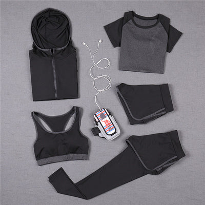 Women 5PC Yoga Set for Running T-Shirt Tops Sports Bra Vest Fitness Pants - Divn$ProV