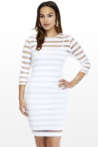 Plus Size Women Sexy Knee-Length Dress Long Sleeves Striped Dress - Divn$ProV