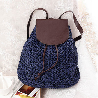Women Drawstring Female Fashion Straw Summer Beach Weaved Backpack - Divn$ProV
