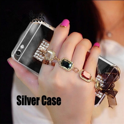 Luxury Handmade Diamond Crystal Bracelet Soft TPU Rubber Plating Cover Case for iPhone 5 - iPhone X - Divn$ProV