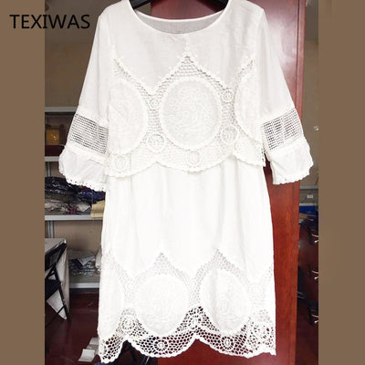 Women Summer Fashion Half Sleeve Loose Lace White Plus Size Dress - Divn$ProV