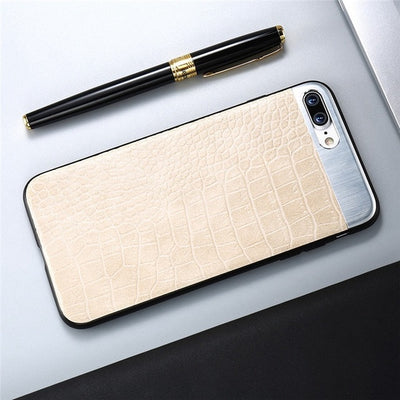 Crocodile Stripe Leather Metal Stitching IPhone Cases  6 - IPhone X - Divn$ProV