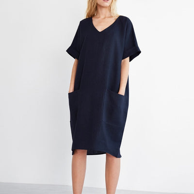 Women Solid Casual Cotton Linen Oversized Dress - Divn$ProV
