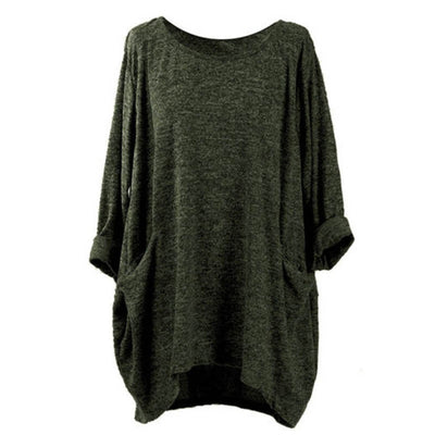 Women Simple O Neck Baggy Shirt Pockets Solid Blouse Loose - Divn$ProV