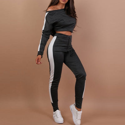 New Women Tracksuit Set Sweatshirts Joggers Long Sleeve Crop Tops Casual Slim Pants Women Suits Women Set - Divn$ProV